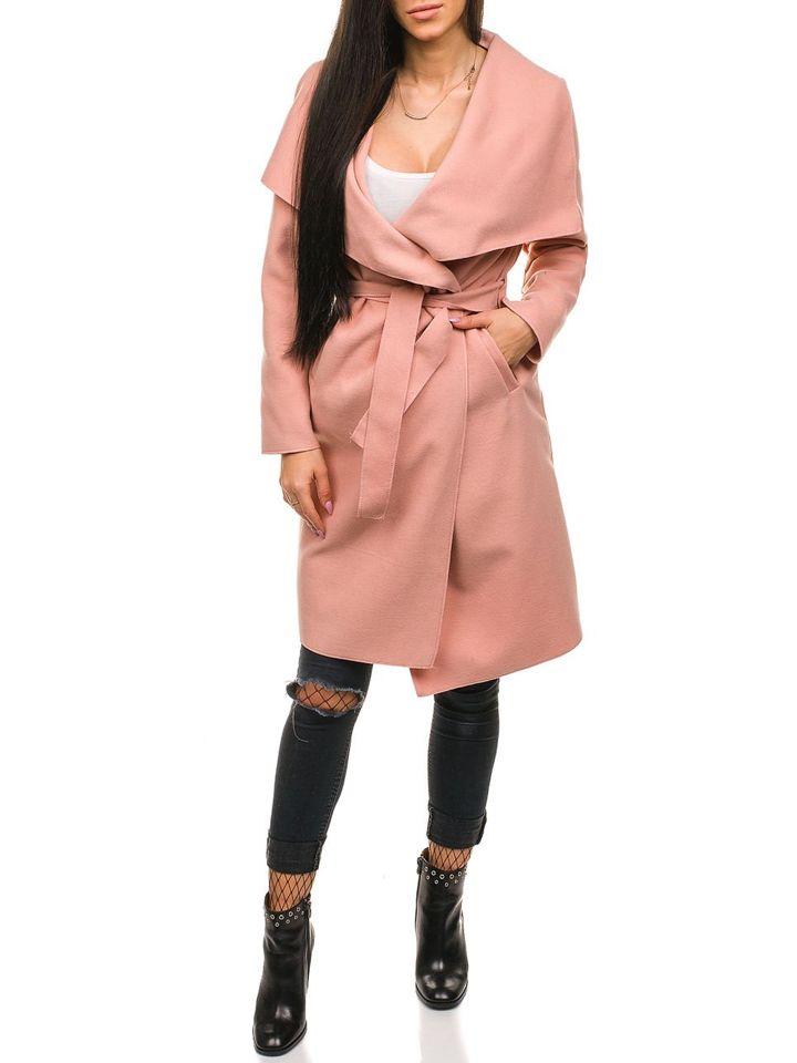 Подовжене жіноче пальто рожеве Bolf 1729 РОЖЕВИЙ 8f910e95d1eb4