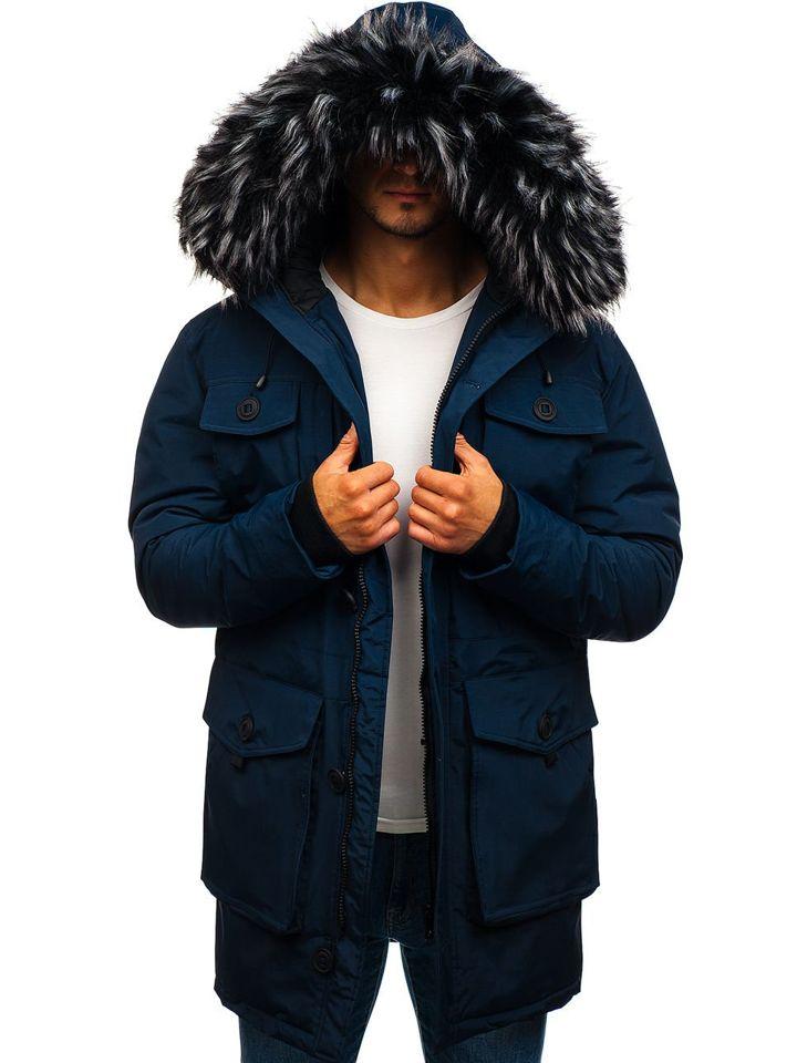 Чоловіча зимова куртка парка темно-синя Bolf 201801 ТЕМНО-СИНІЙ 3c3de4926533c
