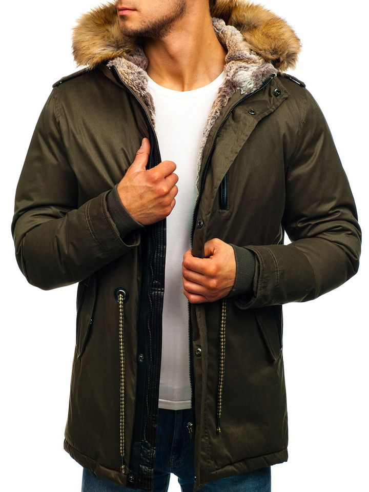 Чоловіча зимова куртка парка коричнева Bolf 1016 ЗЕЛЕНИЙ f048dd5034dd0