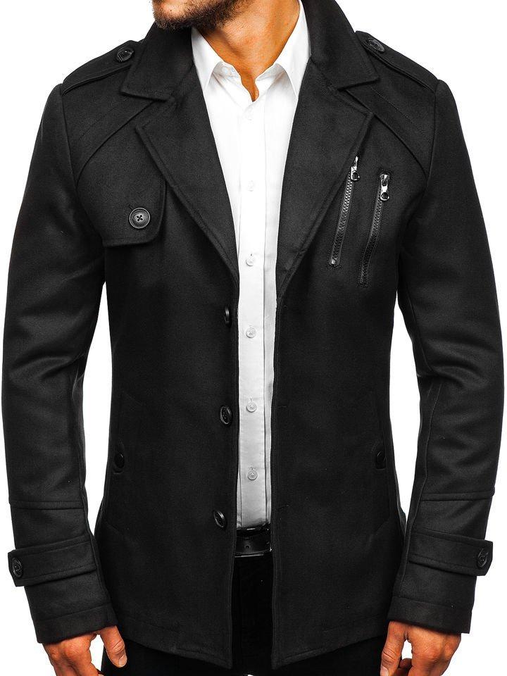 Чорне чоловіче зимове пальто Bolf 3135 e0a4e5bf6cdf0