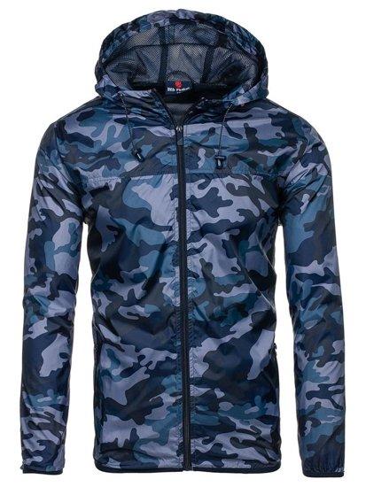 Мужская демисезонная куртка камуфляж-темно-синяя Bolf HY192