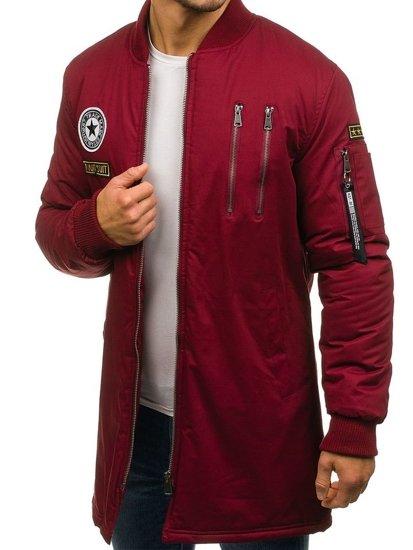 Мужская демисезонная куртка бомберка бордовая Bolf R61