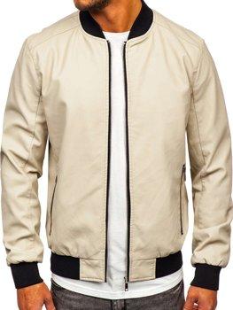 Бежевая кожаная мужская куртка-бомбер Bolf 1147