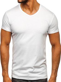 Белая мужская футболка без принта с v-образным вырезом Bolf 2007