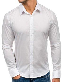 Белая мужская элегантная рубашка с длинным рукавом Bolf 142