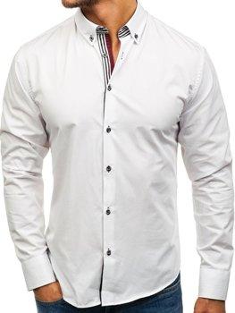 Белая мужская элегантная рубашка с длинным рукавом Bolf 6943