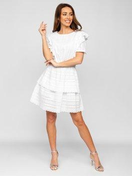 Белое платье женское хлопковое в стиле бохо Bolf 2426