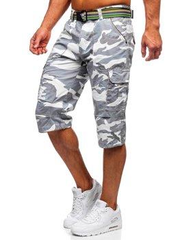 Белые мужские шорты-карго камуфляж с поясом Bolf AR5906