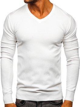 Белый мужской свитер с V-образным вырезом Bolf YY03