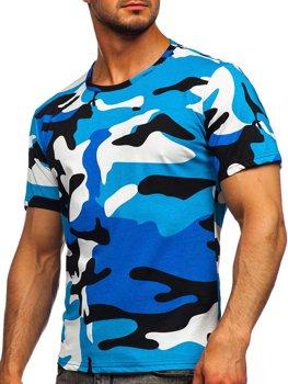 Бирюзовая хлопковая футболка мужская с принтом камуфляж Bolf 14930