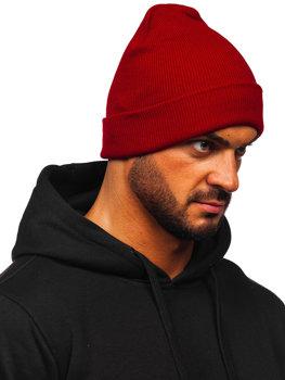 Бордовая мужская зимняя шапка YW09004M