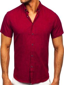 Бордовая хлопковая мужская рубашка с коротким рукавом Bolf 20501