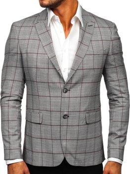 Бордовый клетчатый мужской повседневный пиджак Bolf 1232