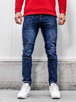 Брюки мужские джинсы джоггеры темно-синие Bolf HY621