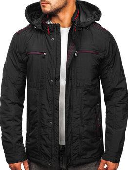 Графитовая демисезонная мужская куртка с капюшоном Bolf bk026