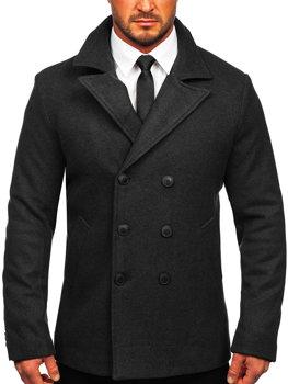Графитовое двубортное мужское зимнее пальто с высоким воротником Bolf 8801