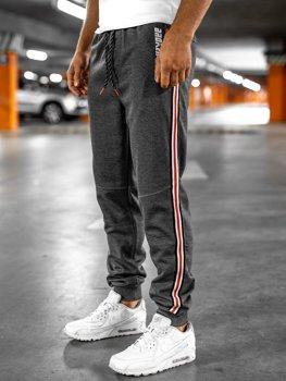 Графитово-оранжевые мужские спортивные брюки Bolf Q3886