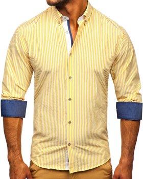 Желтая мужская рубашка в полоску с длинным рукавом Bolf 20704
