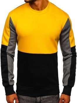 Желтая мужская толстовка без капюшона Bolf KS2222