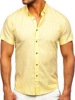 Желтая хлопковая мужская рубашка с коротким рукавом Bolf 20501
