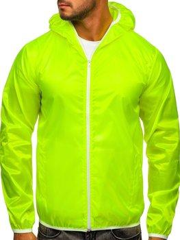 Желто-неоновая мужская демисезонная куртка ветровка с капюшоном BOLF 5060