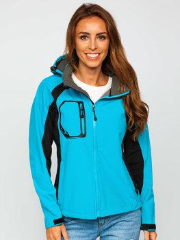 Женская демисезонная куртка софтшелл синяя Bolf 9055