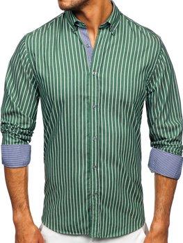 Зеленая мужская рубашка в полоску с длинным рукавом Bolf 20731