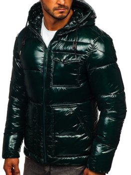 Зеленая стеганая зимняя мужская спортивная куртка Bolf 973
