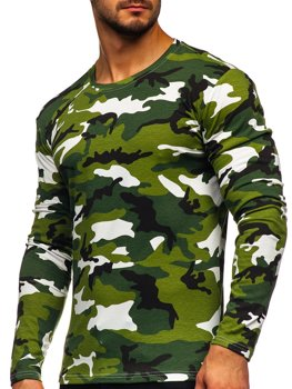 Зеленый мужской лонгслив камуфляж Bolf 2088-1