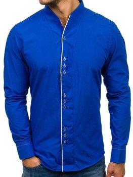 Кобальтовая мужская рубашка с длинным рукавом Bolf 5720