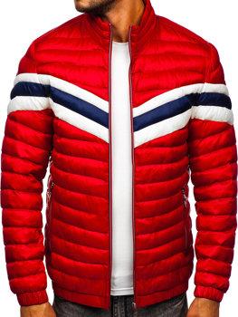 Красная демисезонная мужская стеганая спортивная куртка Bolf 6574