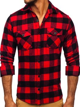 Красная мужская фланелевая рубашка с длинным рукавом Bolf 20723