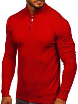 Красный мужской свитер с высоким воротником стойка Bolf YY08