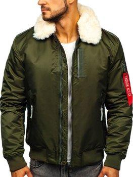 Куртка мужская демисезонная пилот зеленая Bolf 1787