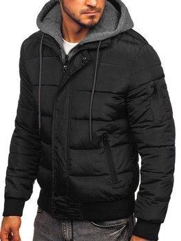 Куртка мужская демисезонная спортивная стеганая черная Bolf JK386