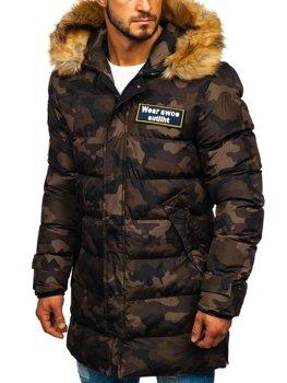 Куртка мужская зимняя парка камуфляж-коричневая Bolf 5970M