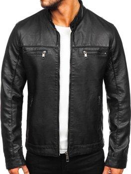 Куртка мужская кожаная biker черная Bolf 88906