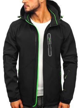 Куртка мужская софтшелл черно-зеленая Bolf 12263