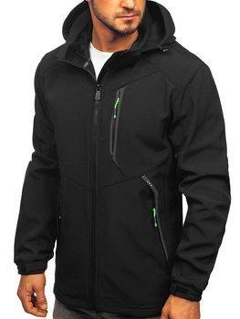 Куртка мужская софтшелл черно-зеленая Bolf 12266