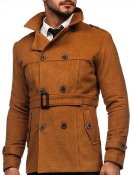 Кэмел двубортное пальто с поясом мужское зимнее пальто с высоким воротником Bolf 0009