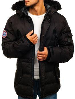 Лыжная мужская зимняя куртка черная Bolf 5423