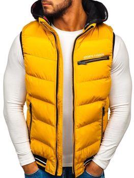 Мужская безрукавка с капюшоном желтая Bolf 5805