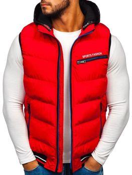 Мужская безрукавка с капюшоном красная Bolf 5805