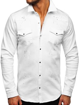 Мужская белая джинсовая рубашка с длинным рукавом Bolf R803