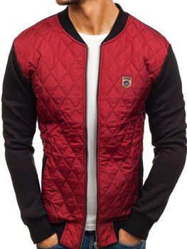 Мужская демисезонная куртка бомбер бордовая Bolf 2569