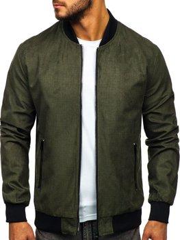 Мужская демисезонная куртка бомбер зеленая Bolf 6117