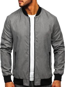 Мужская демисезонная куртка бомбер серая Bolf 6120