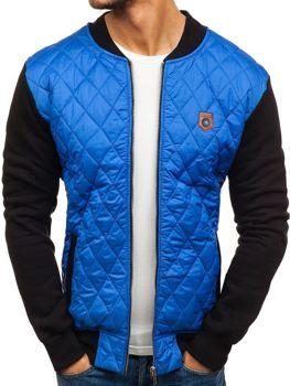 Мужская демисезонная куртка бомбер синяя Bolf 2569