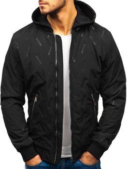 Мужская демисезонная куртка бомбер черная Bolf 5621