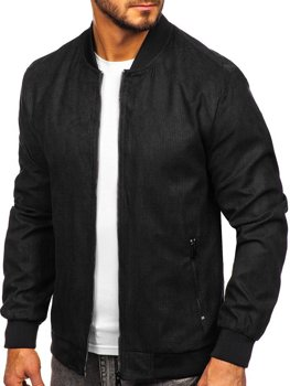 Мужская демисезонная куртка бомбер черная Bolf 6113